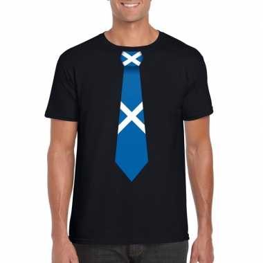 Zwart t-shirt met schotland vlag stropdas heren