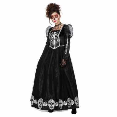 Zwarte jurk met schedels voor dames