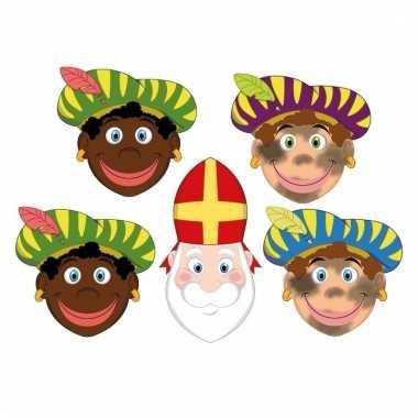 Zwarte pieten en sinterklaas feestmaskers voor kinderen 4 stuks 10096302