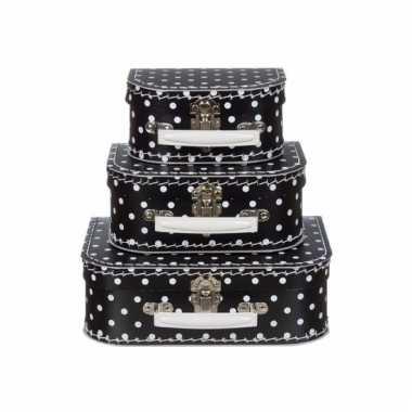 Zwarte speelgoedkoffer met witte stippen 25 cm