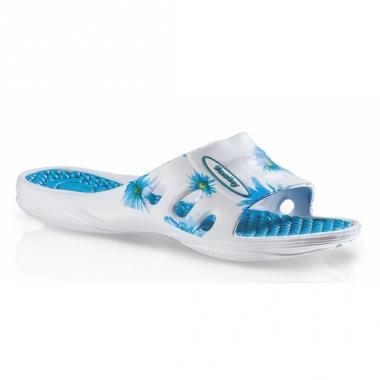 Zwembad slippers met blauwe bloemen