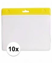 10 badgehouders voor aan een keycord geel 11 2 x 58 cm