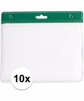 10 badgehouders voor aan een keycord groen 11 2 x 58 cm