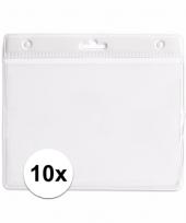 10 badgehouders voor aan een keycord wit 11 2 x 58 cm