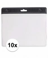 10 badgehouders voor aan een keycord zwart 11 2 x 58 cm