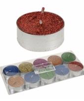 10 glitter theelichten gekleurd