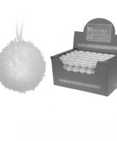 10 witte kerstballen met bontlaagje