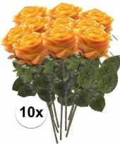 10 x geel oranje roos simone 45 cm kunstplant steelbloem