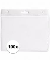 100 badgehouders voor aan een keycord wit 11 2 x 58 cm