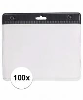 100 badgehouders voor aan een keycord zwart 11 2 x 58 cm
