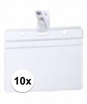 10x beurzen naamkaartjeshouder met klem 11 5 x 9 2 cm