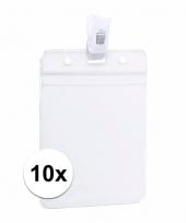 10x beurzen naamkaartjeshouder met klem 8 5 x 12 2 cm