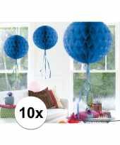 10x decoratiebollen blauw 30 cm