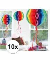 10x decoratiebollen in regenboog kleuren