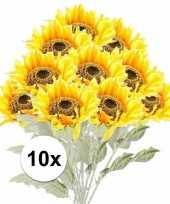10x gele zonnebloem 82 cm kunstplant steelbloem