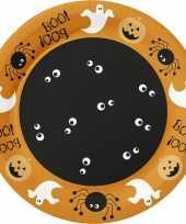10x halloween horror oranje papieren bordjes met figuren print 22 cm