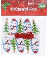 10x kerst decoratie knijpers sneeuwpop kerstboom met touw