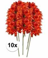 10x oranje gerbera 47 cm kunstplant steelbloem