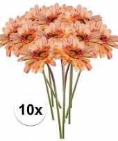 10x perzik oranje gerbera 47 cm kunstplant steelbloem