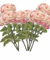 10x rozen kunstbloem lichtroze 66 cm