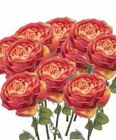 10x rozen kunstbloem oranje 66 cm