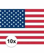 10x stickers van amerikaanse vlag