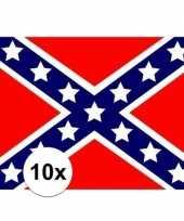 10x stuks stickers van de usa rebel vlag