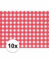 10x tafelmatje rood wit geblokt 43 x 30 cm