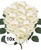 10x witte roos 31 cm kunstplant