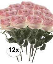 12 x licht roze roos simone 45 cm kunstplant steelbloem