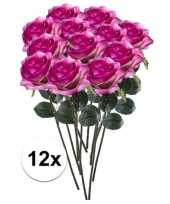 12 x paars roze roos simone 45 cm kunstplant steelbloem