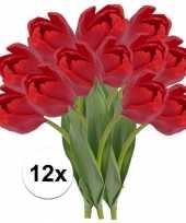 12 x rode tulp 48 cm kunstplant steelbloem