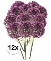 12 x roze paarse sierui 70 cm kunstplant steelbloem