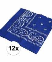 12x blauwe bandana zakdoek