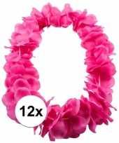 12x bloemenkrans ketting roze