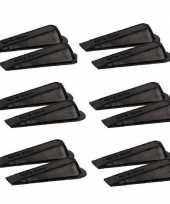 12x deurstopper deurwig kunststof zwart
