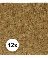 12x glazen kurkonderzetters vierkant