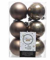 12x kasjmier bruine kerstballen 6 cm glanzende matte kunststof plastic kerstversiering