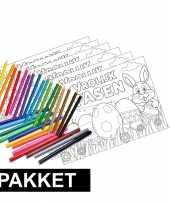 12x pasen placemats met stiften en kleurpotloden