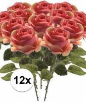 12x roze roos 45 cm kunstplant steelbloem