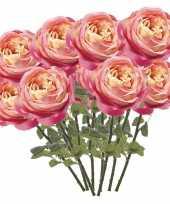 12x rozen kunstbloem roze 66 cm