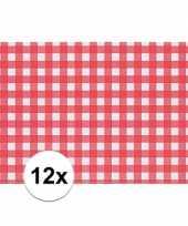 12x tafelmatje rood wit geblokt 43 x 30 cm