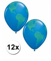 12x wereldbol aarde ballon 40 cm