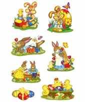 14x pasen stickertjes met paashazen voor kinderen