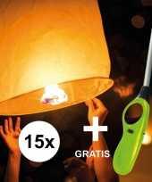 15x wensballon 50 x 100 cm incl gratis aansteker