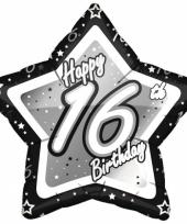 16 jaar ster folieballon black silver