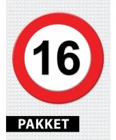 16 jaar verkeersbord versiering pakket