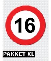 16 jaar verkeersbord versiering xl pakket