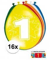 16 party ballonnen 1 jaar opdruk sticker