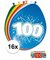 16 party ballonnen 100 jaar opdruk sticker